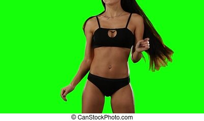 Model demonstrates sexy lingerie. Green screen - Model...