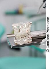 Model dentures in dental office