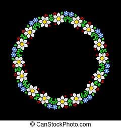 model, donker, achtergrond., vector, floral, cirkel