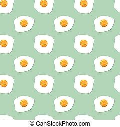 model, eitjes, seamless, vector, ontbijt, gebraden