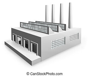 model factory - 3D render of a generic factory