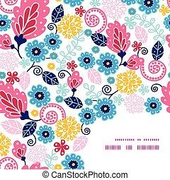 model, fairytale, vector, achtergrond, hoek, bloemen, frame
