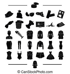 model, fashion, ecology and other web icon in black style. knitwear, textiles, clothing, icons in set collection.