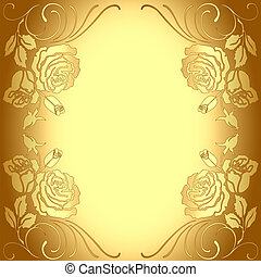 model, frame, achtergrond, goud, rozen
