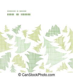 model, frame, seamless, bomen, textiel, silhouettes, groene achtergrond, horizontaal, kerstmis