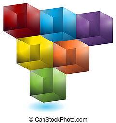 model, geometrisch, kubus