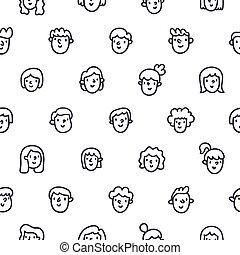 model, gezichten, meiden, seamless, jongens, doodle
