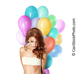 Model girl with colorful balloons.