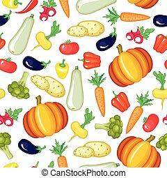 model, groentes, spotprent, seamless