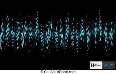 model, halftone, geluidsgolf