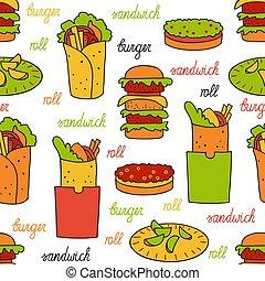 model, hamburger, seamless, broodjes
