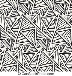 model, hand, getrokken, monochroom, gestreepte , driehoeken