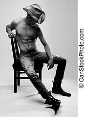 model, hemd, mannelijke , het poseren, zonder, sexy
