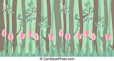 model, horizontaal, seamless, bomen, tulpen