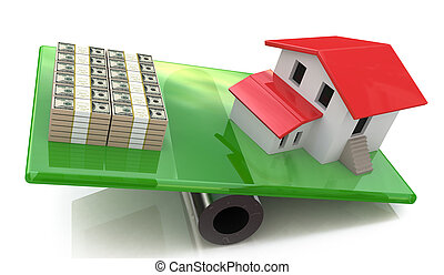 Model house and a pile of money balancing on a seesaw