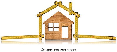Model House and Wooden Folding Ruler