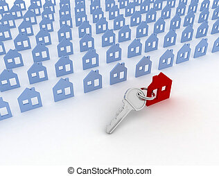 model house symbol set and key