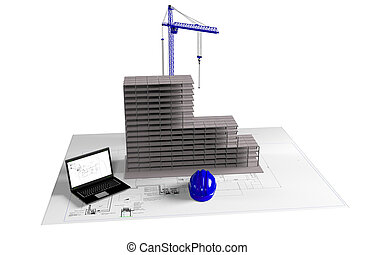 model house under construction, computer, helmet, 3D visualization