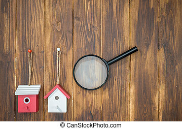 model house with Magnifying Glass, House hunting
