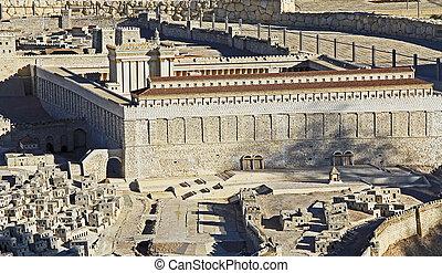 model, i, ancient, jerusalem, focusing, på, den, tempel mount