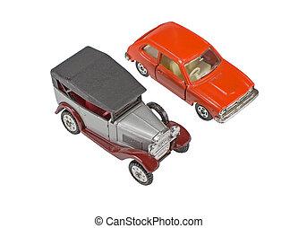 model, i, automobilen, på, en, hvid
