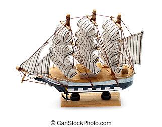 model, i, sejlbåd, isoleret, på hvide