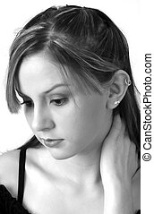 Model in B&W 3 - Pretty model in Black on white holding neck