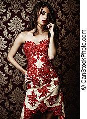 model in evening dress