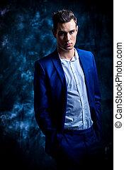 model in formal suit