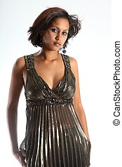 Model in gold top - Stunning ethnic beauty in metallic top...