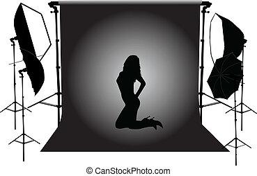 model in the photographic studio