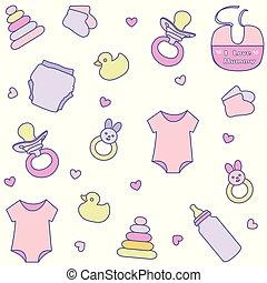 model, items., seamless, accessoires, pasgeboren baby, meisje, kleren