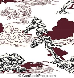 model, japanner, dennenboom, traditionele , vector, oosters, achtergrond