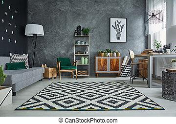 model, kamer, grijze , tapijt