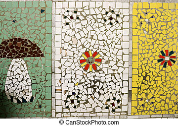 model, keramisch, mushroom., textuur, glas, kleuren, gevarieerd, achtergrond, fragmenten, bloemen, mozaïek