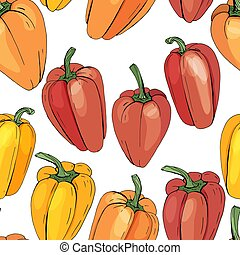 model, kleur, paprika, anders, seamless, groentes, white.