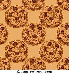 model, koekjes, chocoladekleurig stukje, seamless