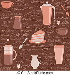 model, koffie, communie, seamless, verwant