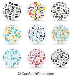 model, kruh, dát, o, rozmanitý, ikona, eps10