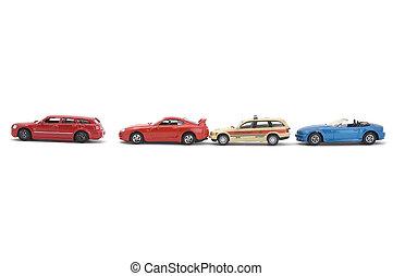 model, legetøj vogn, på hvide, baggrund