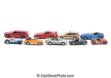 model, legetøj vogn, på hvide