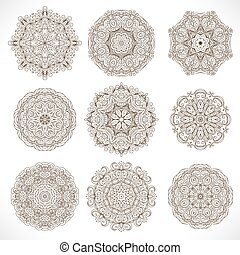 model, mandalas., set, ornament, ronde