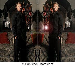 model, mannelijke , spiegel