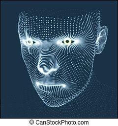 model., menschliche , technologie, design., avatar, geometrisch, 3d, sein, kopf, gebraucht, skin., portrait., grid., mann, hülle, geometrie, wissenschaft, gesicht, person, buechse, head., scanning., ansicht