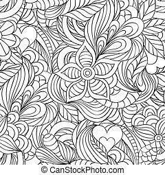 model, met, abstract, bloemen, en, hartjes