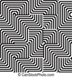 model, met, lijn, zwart wit, in, zigzag