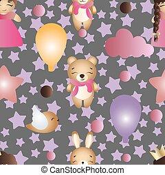 model, met, spotprent, schattig, speelbal, baby meisje, en, konijntje