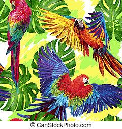 model, met, tropische , papegaaien, en, monstera, vellen