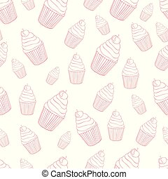 model, mooi en gracieus, seamless, achtergrond, cupcake