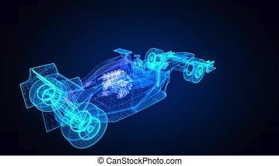 model., mouvement, formule, 4k, ligne, bleu, animation, 3d,...